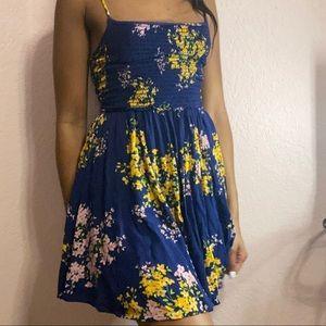 Navy Blue Floral Print Skater Dress